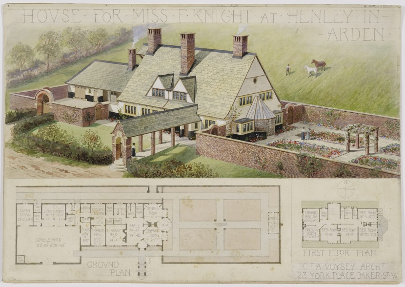 RIBA94223 Design for Brooke End, New Road, Henley-in-Arden, Warwickshire, for Miss F. Knight: perspective of the design almost as executed and plans (1909) Image rights RIBA Library Drawings & Archives Collections